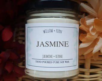 Jasmine Scented, Jasmine Candle, Egyptian Jasmine, Floral Candle, Wedding Gift, Spa Gift, Custom Candle Gift, Gift For her, Relaxing Candle