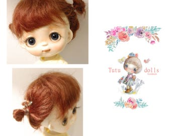 Tutu's real mohair wig,brown color,7-8 size.