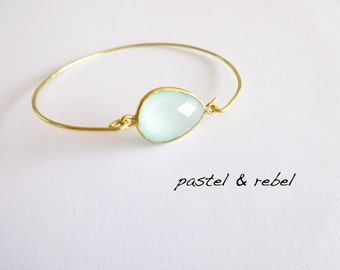 pastel blue filigree calcedony gold plated bracelet