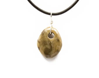 Petoskey Stone Necklace Polished Petoskey Stone Jewelry Pendant Michigan Coral Fossil Beach Stone Leather Silver Gift for Women Her ET216