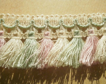 Braid has fringes, synthetic, ecru, pink and green almond, width 4 cm