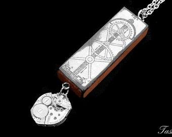 Steampunk Wooden Gear Diagram Ephemera Necklace, Vintage Long Silver Watch Movement Pendant, Vintage Boho Jewelry