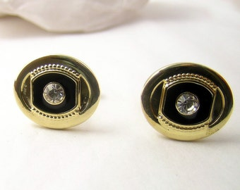 Vintage Cuff Links Gold tone faux Diamond jewelry