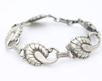 "Vintage Harry S. Bick Sterling Silver Nouveau Inspired Swirls Bracelet 7.5"". [2989]"