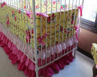 Pink Gradient Ombre Ruffle Crib Skirt | Pink, Ombre, Ruffled, Bright Baby Girl Crib Skirt | Pink Baby Girl Nursery