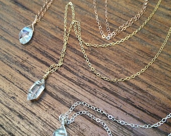 Herkimer diamond necklace, single raw gemstone necklace, delicate jewelry, 14k gold, sterling silver or rose gold necklace