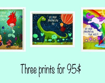 Let your imagination swim / fly / run wild. Three prints 8.5x11 inches. Kids room wall art decoration.