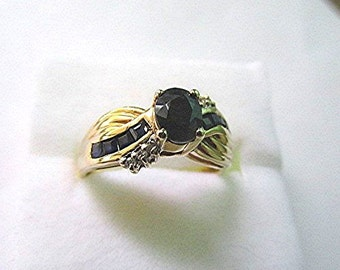Sapphire ring sapphire and diamond ring sapphire 9ct gold ring vintage ring 80s ring September birthstone natural sapphire ring US size 8.