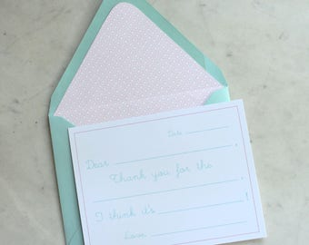 fill in the blank notecards / thank you cards for girls -- pink and aqua