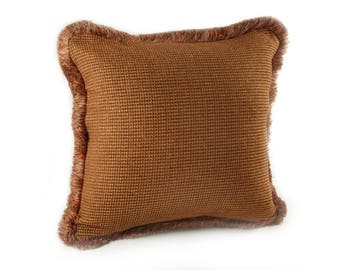 Rust and Gold Chenille Large Square Pillow with Fringe