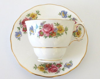 SALE! Vintage Colclough Cottage Garden Bouquet Tea Cup & Saucer. Pink Roses. Yellow Daisies. Blue Forget-Me-Nots, Red and Orange Dahlias [4]
