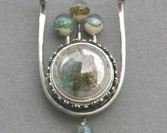 Finished Dinner Under Glass Diorama Necklace