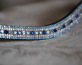 Capri blue, aqua and clear alternating curve megabling browband