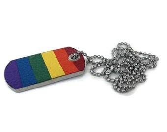 Gay pride necklace, lgbt necklace, rainbow necklace, gay dog tag, lgbt dog tag, rainbow leather dog tag.