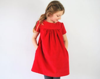 Red girls dress pinafore corduroy pocket jumper cord smock spring summer girls rainbow clothing strawberry tomato baby toddler casual kids
