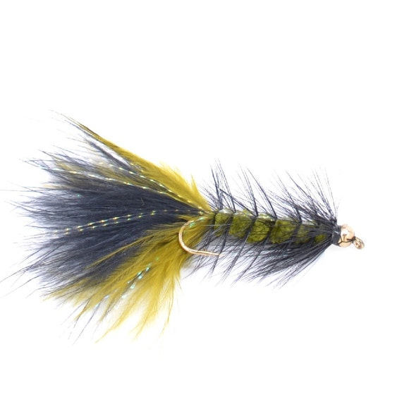Bead Head Crystal Woolly Bugger Olive/Black - Trout and Bass Fly Fishing Flies - Hook Size 4 - Hand Tied Trout Flies