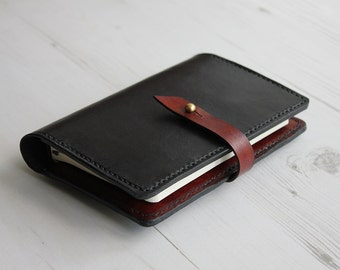 Contrast Leather Notebook Cover with Closure, Moleskine Pocket A6 Cover, Leather Journal Cover, Refillable Notebook Cover