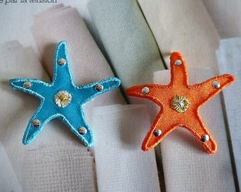 Starfish with golden heart appliques and small nails silvered patch patch for sewing, clothing and accessories decoration