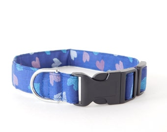 Blue Multicolor Sketch Hearts Holiday Dog Collar/Cat Collar