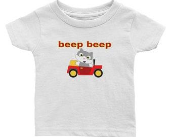 Beep Beep Kitty Cat in a Car Infant Tee Tshirt