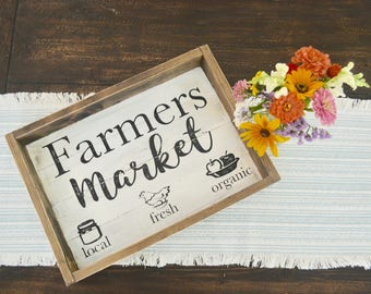 Wood Serving Tray, Farmers Market, Decorative Farmhouse Tray, Rustic Wood Tray, Farmhouse Kitchen Decor