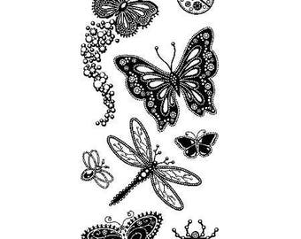 Inkadinkado Gemstone Insects Stamps Clear Stamp Set Butterfly Stamps Flower Stamps Nature Stamps Ladybug Dragonfly Bee Stamps