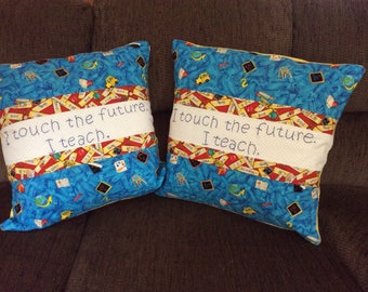 Teacher Quilted Pillow Cove