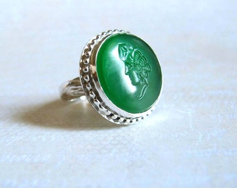 Green Glass Roman Intaglio Ring Classical Intaglio Womans Head Face Sterling Silver Ring Size 8
