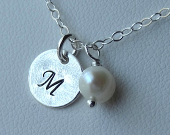Sterling Silver Freshwater Pearl Baby Child Initial Pendant Necklace, Birthstone, Personalized, Flower Girl Necklace, Junior Bridesmaids