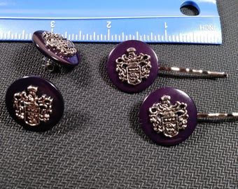 Crested hair pins and earrings