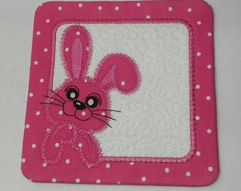 Bunny Mug Rug Coaster in Pink Polka Dot Quilted for Easter Table Decor