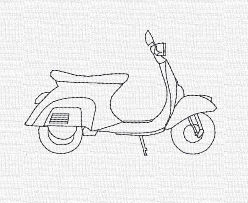 Vespa Machine Embroidery Design Download 4x4 5x7 Modern