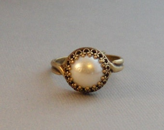 Brass Pearl,Ring,Brass Ring,Pearl,Pearl Ring,Brass and Pearl,Button Ring,White Pearl,Gypsy,Boho Ring,White,Antique Ring,Valleygirldesigns.