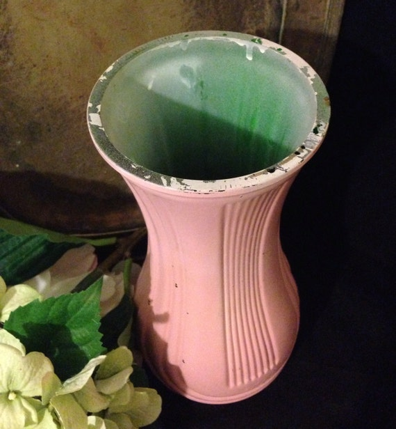 Pastel Pink Flower Vase Vintage Hoosier Glass Vase 4087 B