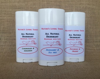 All Natural Deodorant That Really Works! Made With Lemongrass, Geranium, and Tea Tree Essential Oils. You Will Smell Clean & Fresh!