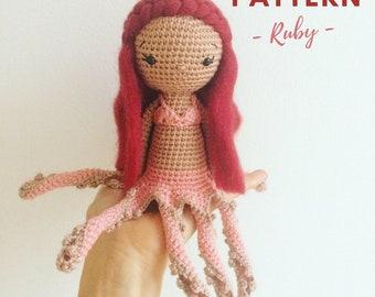 Ruby | Crochet Octopus, Crochet Doll Pattern, Amigurumi doll pattern, Amigurumi Pattern, Amigurumi Octopus, Octopus Girl, Crochet Octopussy