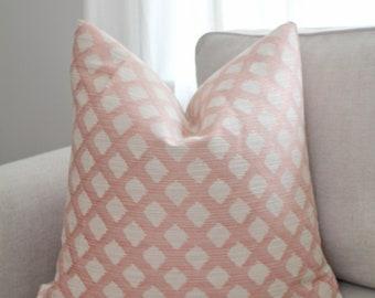 Blush Diamond Pillow Cover // Blush Woven Geometric Pillow Cover 20x20 22x22 18 20 22 24 26 Euro Lumbar x