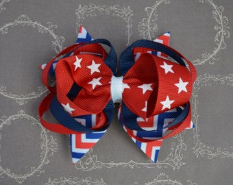 Red White & Blue Hairbow - Patriotic Hairbow - 4th of July Hairbow - Red Hairbow - Patriotic Hair Accessories - Royal Blue Hairbow