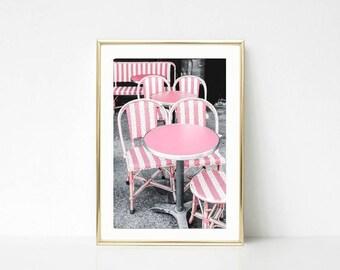 Paris Photography // Large Wall Art // Cafe Art Decor // Pink Gallery Wall Prints //  Kitchen Art // Paris Color // Colorful Decor Art