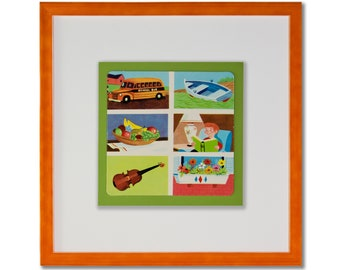 Set of Two Framed Vintage Illustrations from Children's Game