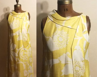 Vintage 1960's Hawaiian Dream 60's PAB Silk Shantung Floral Layered Yellow Evening Womens Dress - S