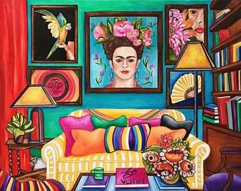 Frida Kahlo, Frida Kahlo Art Print, Mexican Interior,  Living room, Mexican Art, Mexico Art
