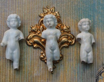 3 Small Frozen Charlotte Dolls Antique for jewelry or collage art German Broken