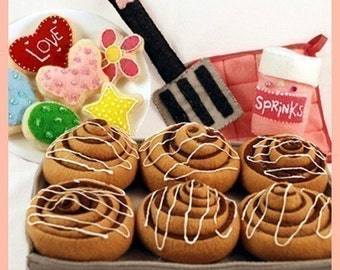 BAKERY SWEETS - PDF Felt Food Pattern (Cinnamon Rolls, Sugar Cookies, Sprinkles, Spatula, Hot Pad and Baking Sheet)