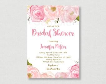 Soft Pink Floral Bridal Shower Invitation / Pink Floral Bridal Shower / Watercolor Floral / PRINTABLE B108