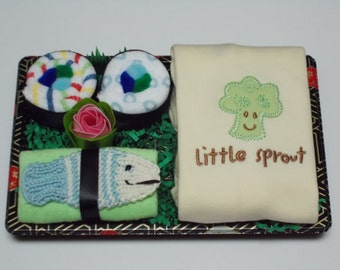 Baby Boy Sushi & Onesie Baby Shower Gifts - Little Sprout Broccoli