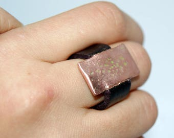 leather and copper ring, leather jewelry, copper rings