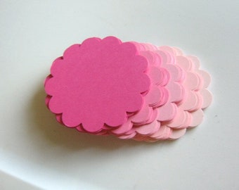 60 Scalloped Circle Die Cuts 2.5 Inch, Round Cut Out, Pink Mixture, Paper Cardstock 65lb, Ready to Ship