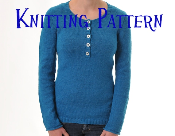 Pdf Knitting Pattern Henley Pullover Seamless Sweater