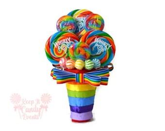 Rainbow Lollipop Bridesmaid Bouquet, Maid of Honor Rainbow Bouquet, Rainbow Bouquet, Small Rainbow Wedding Bouquet, Rainbow Wedding Ideas